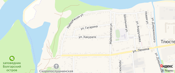 Улица Хакурате на карте поселка Тлюстенхабля с номерами домов