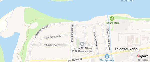 Майкопский переулок на карте поселка Тлюстенхабля с номерами домов