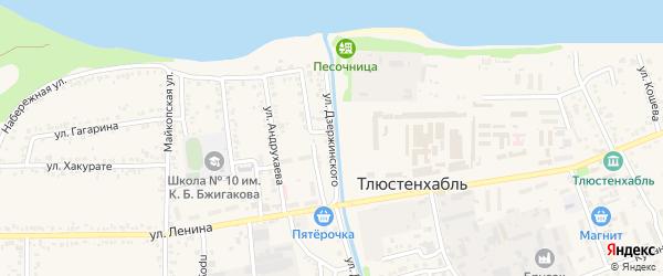 Улица Дзержинского на карте поселка Тлюстенхабля с номерами домов