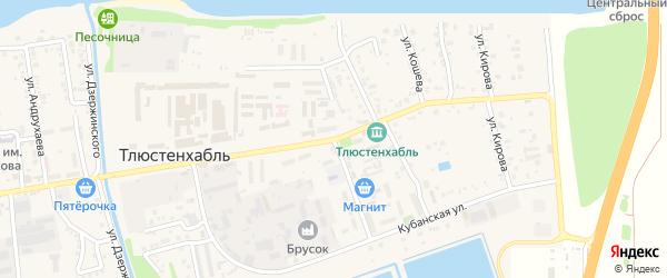 Улица Гидростроителей на карте поселка Тлюстенхабля с номерами домов