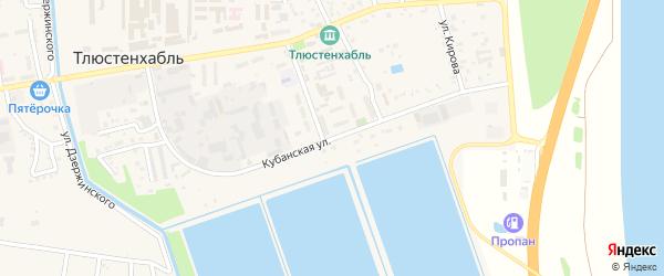 Кубанская улица на карте поселка Тлюстенхабля с номерами домов