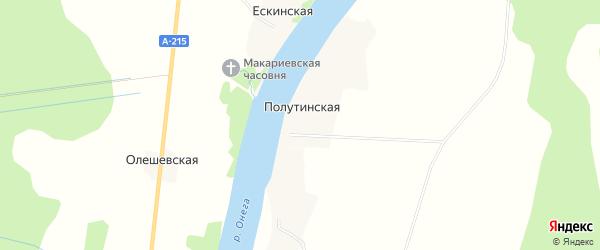 Карта Полутинской деревни в Архангельской области с улицами и номерами домов