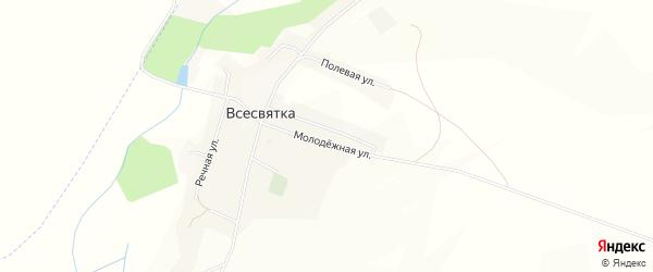 Карта села Всесвятки в Белгородской области с улицами и номерами домов