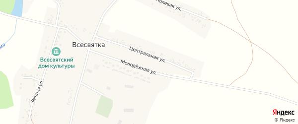 Центральный переулок на карте села Всесвятки с номерами домов