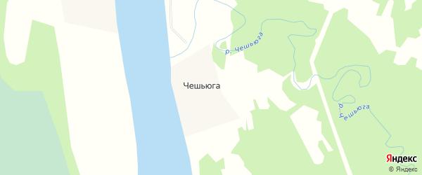 Карта деревни Чешьюги в Архангельской области с улицами и номерами домов