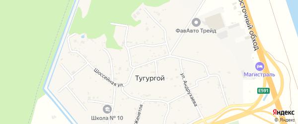 Шоссейная улица на карте Тугургоя аула с номерами домов