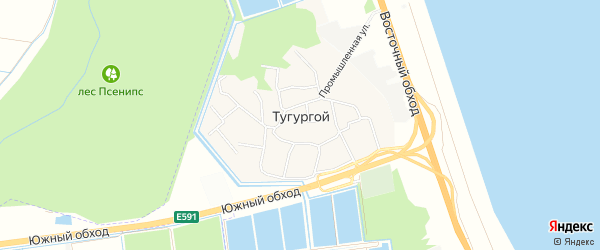 Карта Тугургоя аула в Адыгее с улицами и номерами домов