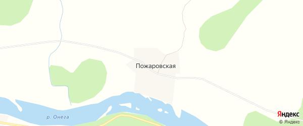 Карта Пожаровской деревни в Архангельской области с улицами и номерами домов