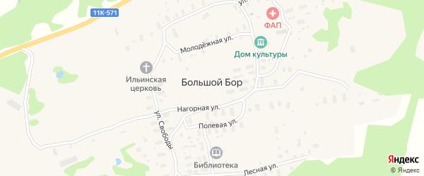Школьная улица на карте деревни Большого Бора с номерами домов
