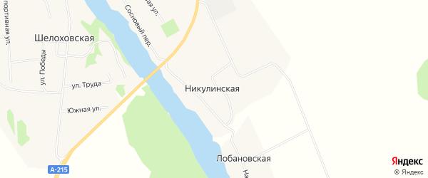 Карта деревни Никулинская (Приозерное мо) в Архангельской области с улицами и номерами домов