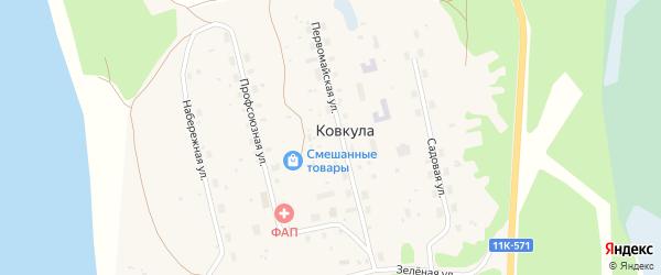 Профсоюзная улица на карте поселка Ковкулы с номерами домов