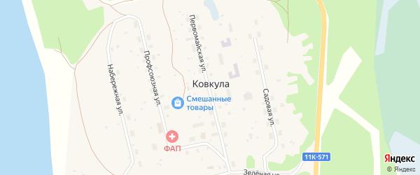 Первомайская улица на карте поселка Ковкулы с номерами домов