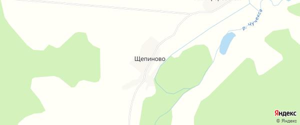 Карта деревни Щепиново в Архангельской области с улицами и номерами домов
