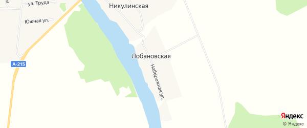 Карта Лобановской деревни в Архангельской области с улицами и номерами домов