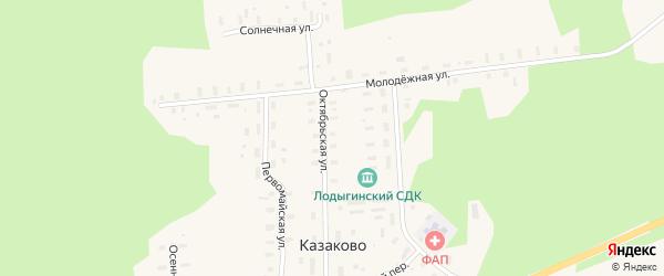Солнечная улица на карте деревни Казаково с номерами домов