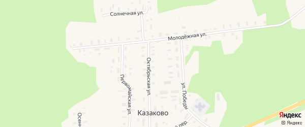 Октябрьская улица на карте деревни Казаково с номерами домов