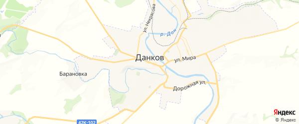 Карта Данкова с районами, улицами и номерами домов: Данков на карте России