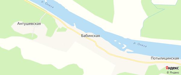 Карта Бабинской деревни в Архангельской области с улицами и номерами домов