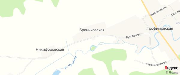 Карта Брониковской деревни в Архангельской области с улицами и номерами домов