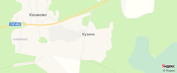 Карта деревни Кузино в Архангельской области с улицами и номерами домов