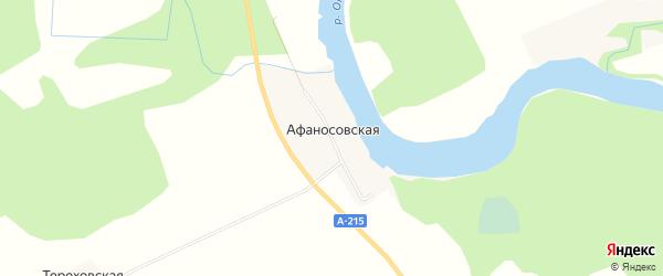 Карта Афаносовской деревни в Архангельской области с улицами и номерами домов