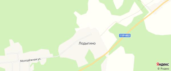 Карта деревни Лодыгино в Архангельской области с улицами и номерами домов