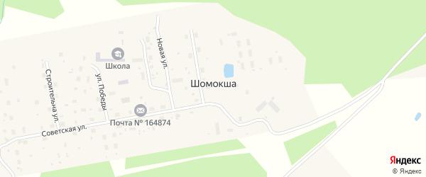 Улица Строителей на карте поселка Шомокши с номерами домов