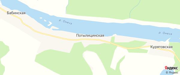 Карта Потылицинской деревни в Архангельской области с улицами и номерами домов