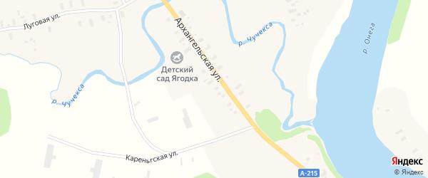 Набережная улица на карте Трофимовской деревни с номерами домов