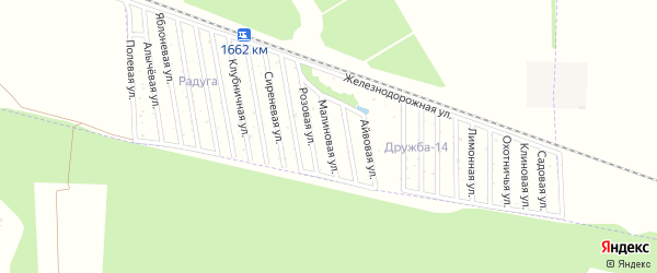 Малиновая улица на карте садового некоммерческого товарищества Дружбы-14 с номерами домов