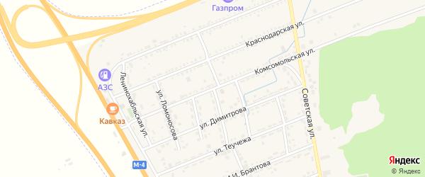 Комсомольская улица на карте Адыгейска с номерами домов
