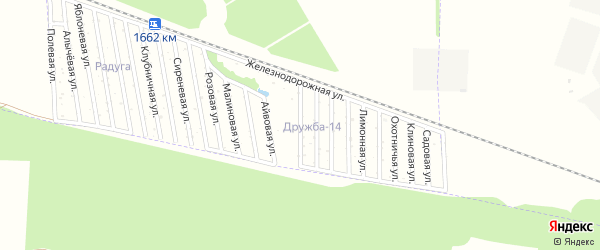 Гранатовая улица на карте садового некоммерческого товарищества Дружбы-14 с номерами домов