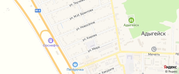 Улица Кирова на карте Адыгейска с номерами домов