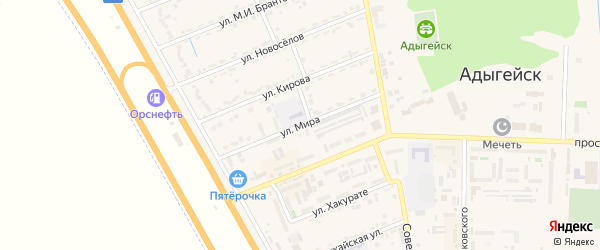 Улица Мира на карте Адыгейска с номерами домов