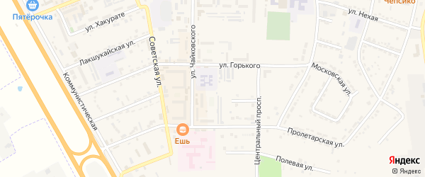 Дорога А/Д Энем-Адыгейск-Бжедугхабль на карте Адыгейска с номерами домов