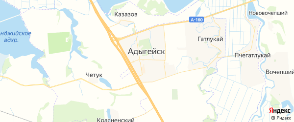 Карта Адыгейска с районами, улицами и номерами домов: Адыгейск на карте России