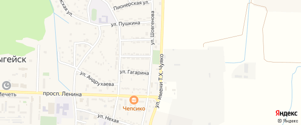 Улица Шовгенова на карте Адыгейска с номерами домов