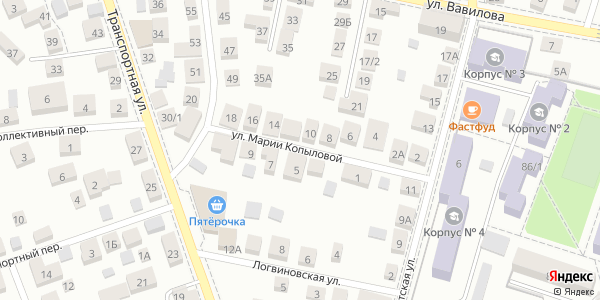 Марии Копыловой Улица в Воронеже