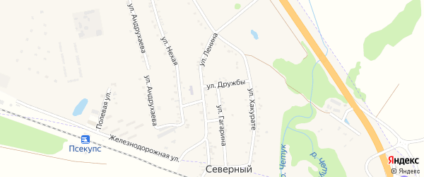 Улица Победы на карте хутора Псекупса с номерами домов