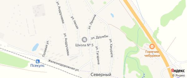 Бжедугская улица на карте хутора Псекупса с номерами домов