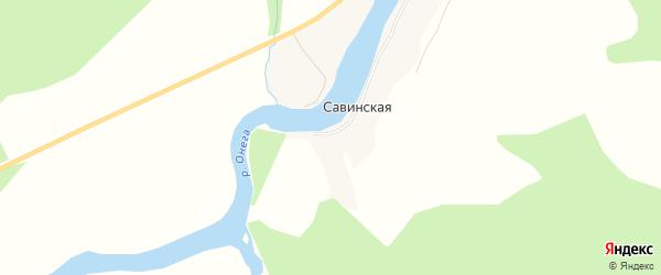 Карта деревни Савинская (Ухотское мо) в Архангельской области с улицами и номерами домов