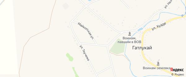 Майкопская улица на карте аула Гатлукая с номерами домов