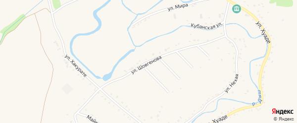 Улица Шовгенова на карте аула Гатлукая с номерами домов