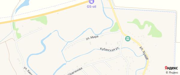 Улица Мира на карте аула Гатлукая с номерами домов