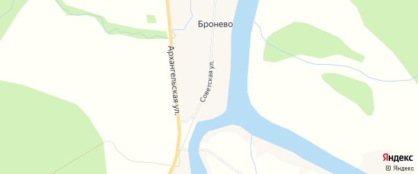 Карта деревни Бронево в Архангельской области с улицами и номерами домов