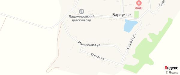 Садовый переулок на карте села Барсучьего с номерами домов