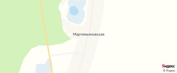 Карта Мартемьяновской деревни в Архангельской области с улицами и номерами домов