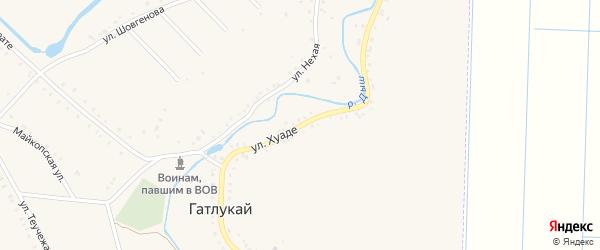 Улица А.Хуаде на карте аула Гатлукая с номерами домов