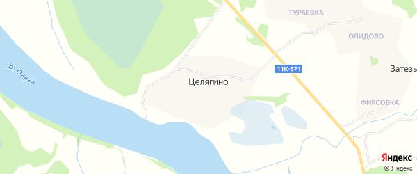 Карта деревни Целягино в Архангельской области с улицами и номерами домов