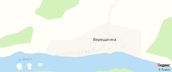 Ручьевая улица на карте деревни Верещагиной с номерами домов